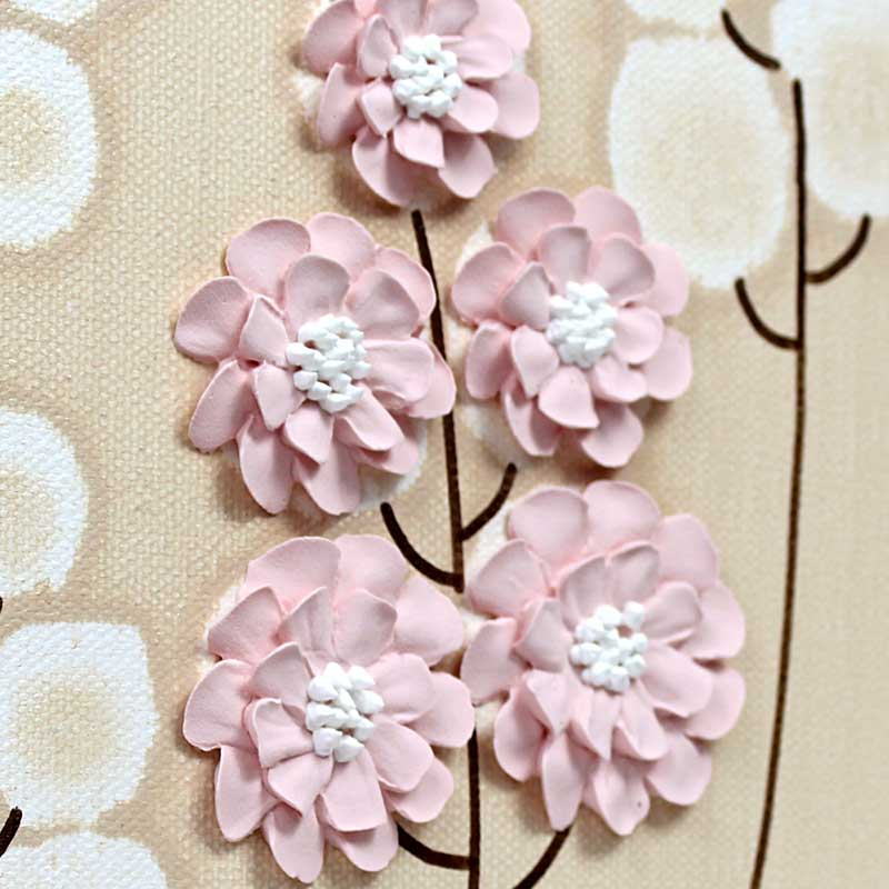 Details of nursery canvas art khaki and pink wildflowers