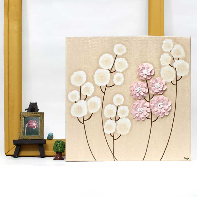 Setting view of nursery canvas art khaki and pink wildflowers