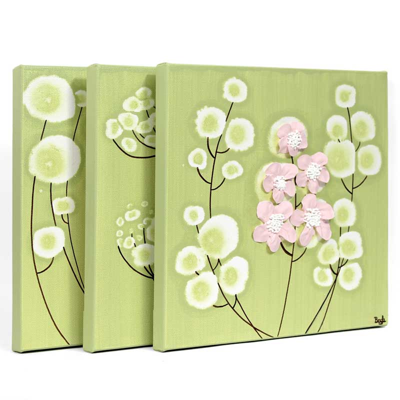 Wall Art on 3 Canvases for Green and Pink Flower Nursery | Amborela