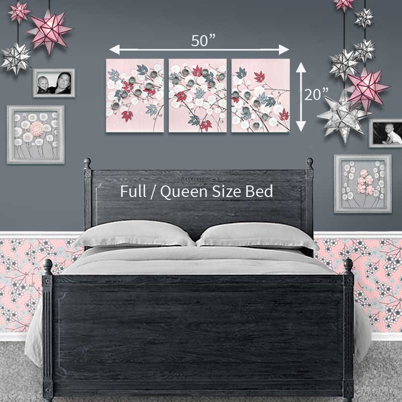 Size guide for nursery art pink gray flowers