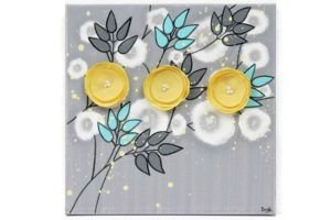 Small wall art gray yellow flowers
