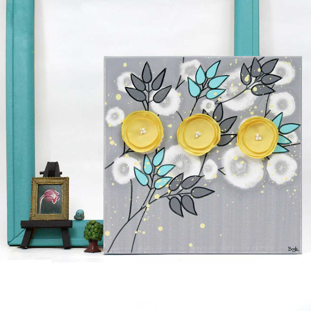 Setting of small wall art gray yellow flowers