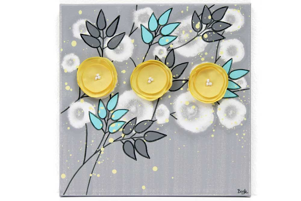 Gray Yellow Aqua Canvas Painting of Poppy Flowers - Small | Amborela