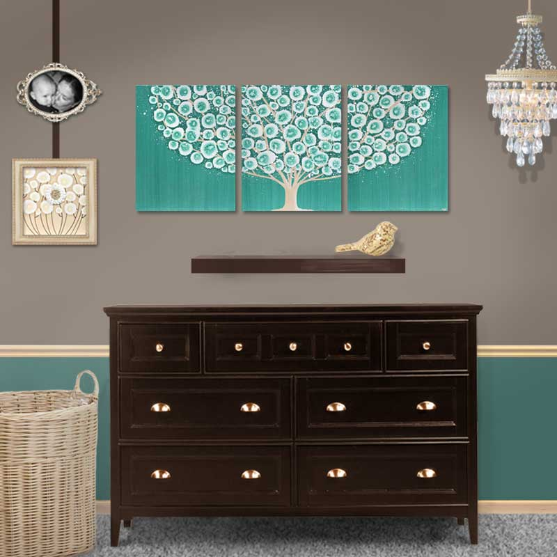 Setting view of wall art country teal and khaki tree