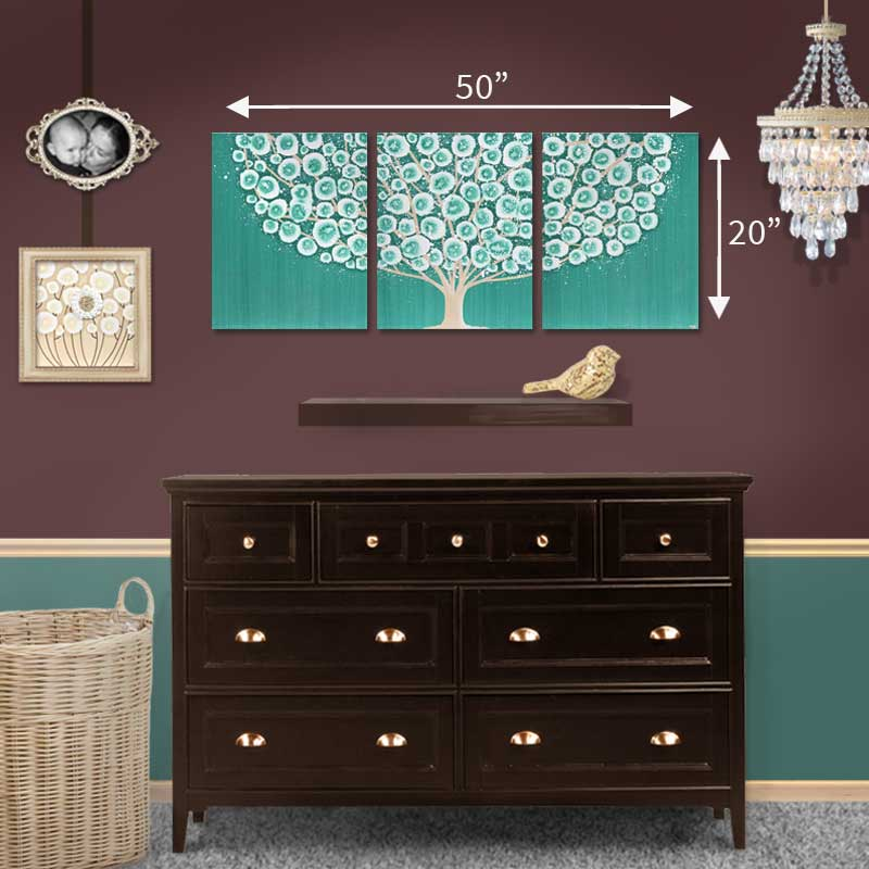Size guide of wall art country teal and khaki tree