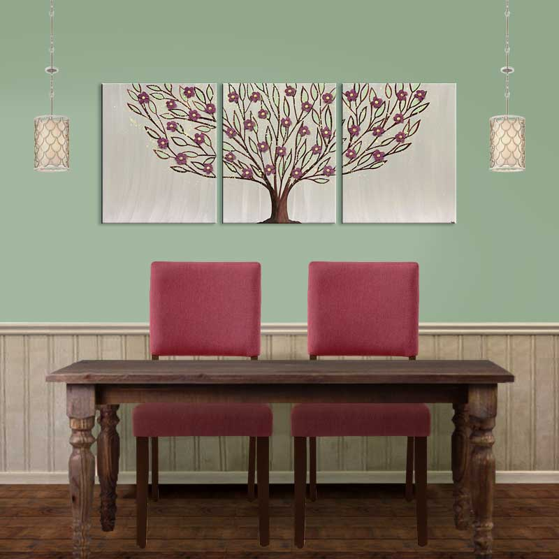 Setting of large wall art flowering tree in warm gray and wine