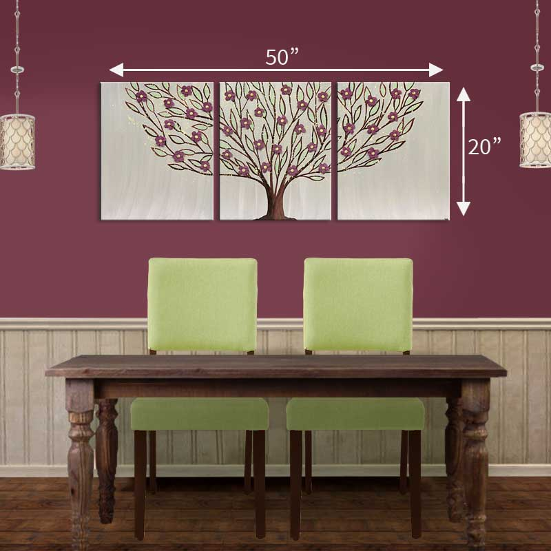 Size guide for large wall art flowering tree in warm gray and wine
