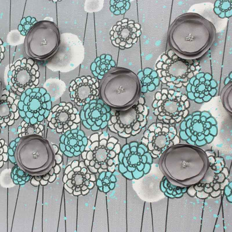 Center view of wall art gray and aqua wildflowers
