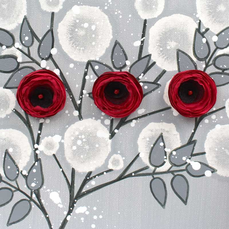 Center view of wall art painting of gray and red rose branch
