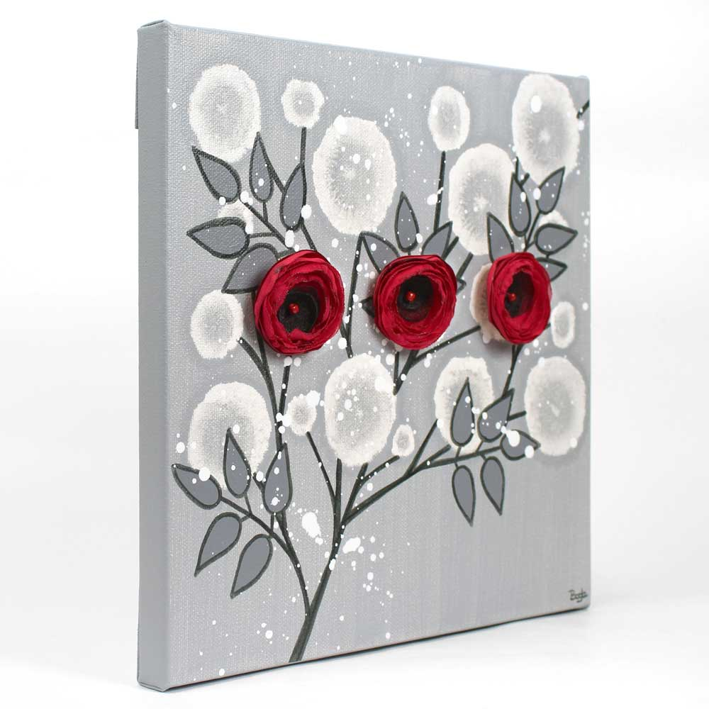 Side View Of Wall Art Painting Gray And Red Rose Branch