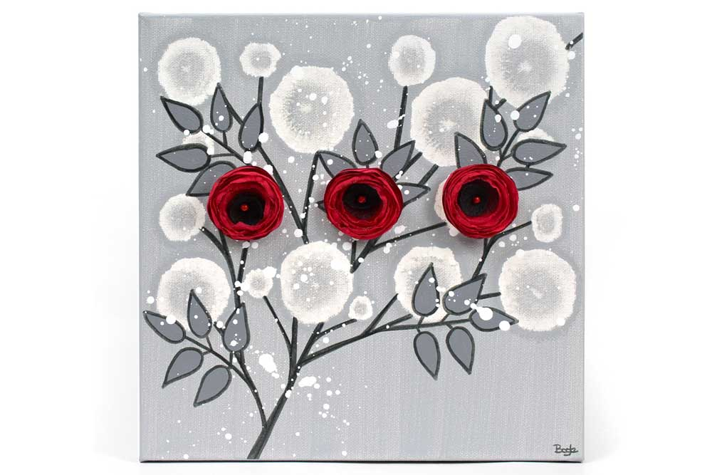 Wall art painting of gray and red rose branch