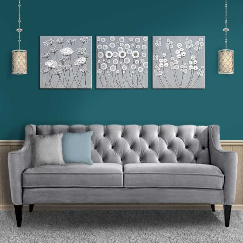Merveilleux Setting Of Canvas Art Gray And White Flowers Set Of Three