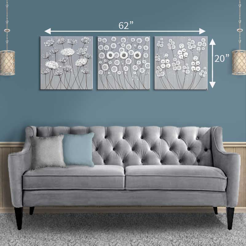 Size guide for canvas art gray and white flowers set of three