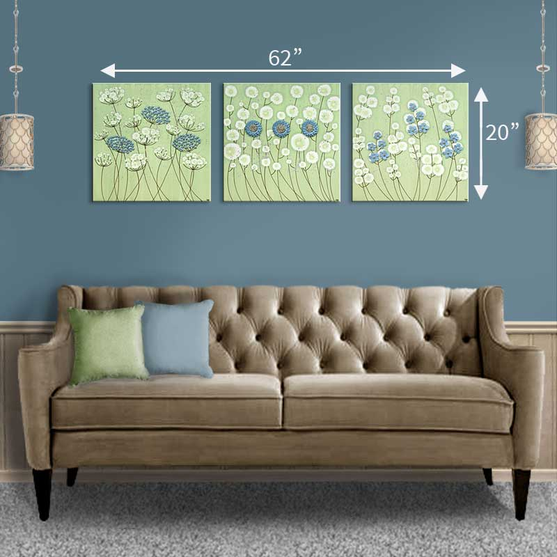 Size guide for wall art green and blue flowers set of three extra large