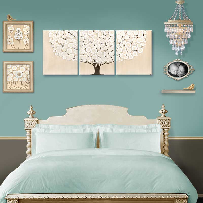 Wall art khaki tree in bedroom setting