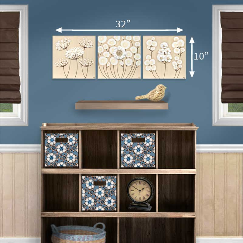 Size guide for khaki and white flowers set of three