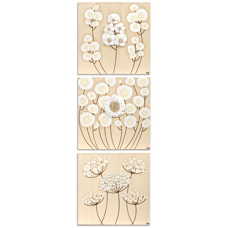 Vertical view of khaki and white flowers set of three