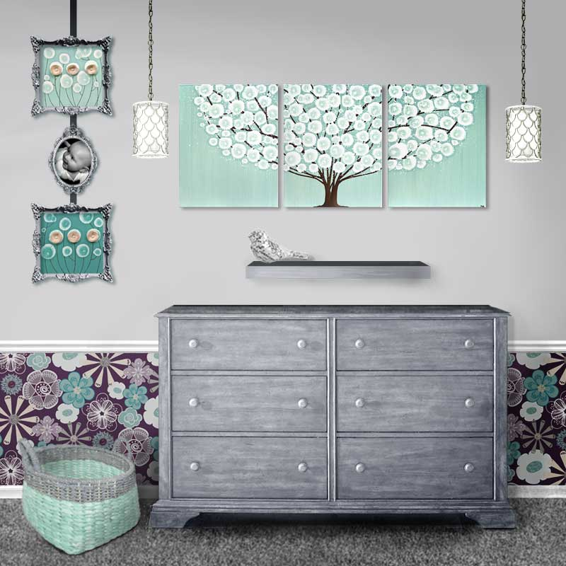 Dresser setting view of large wall art sea glass and brown tree