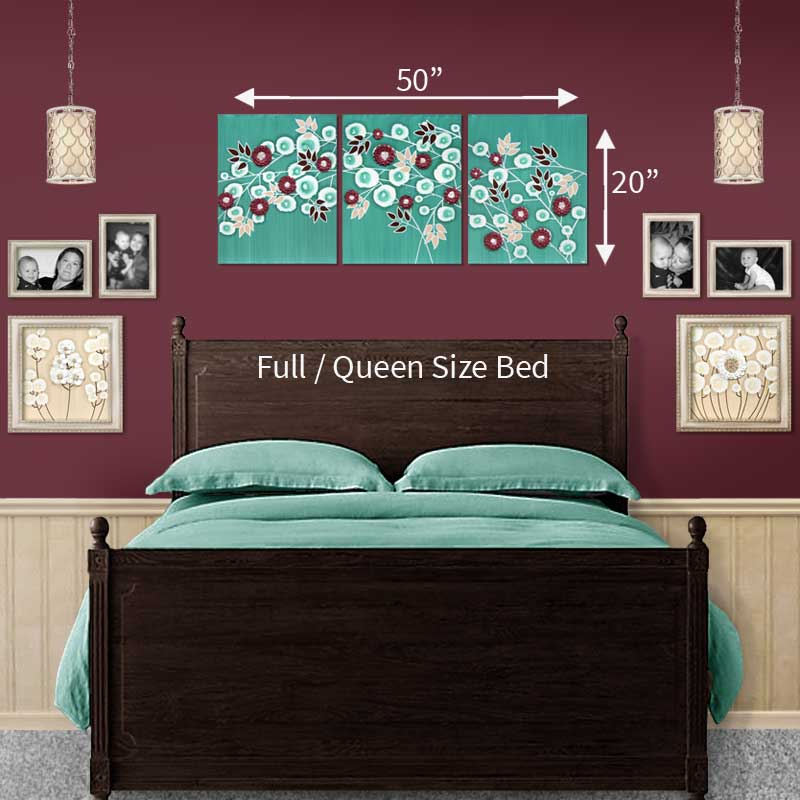 Size guide for wall art teal and wine climbing flowers