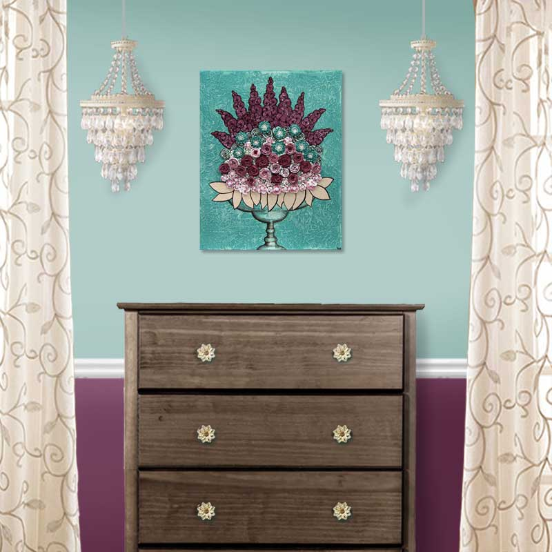 Setting view of wall art teal and wine rose still life