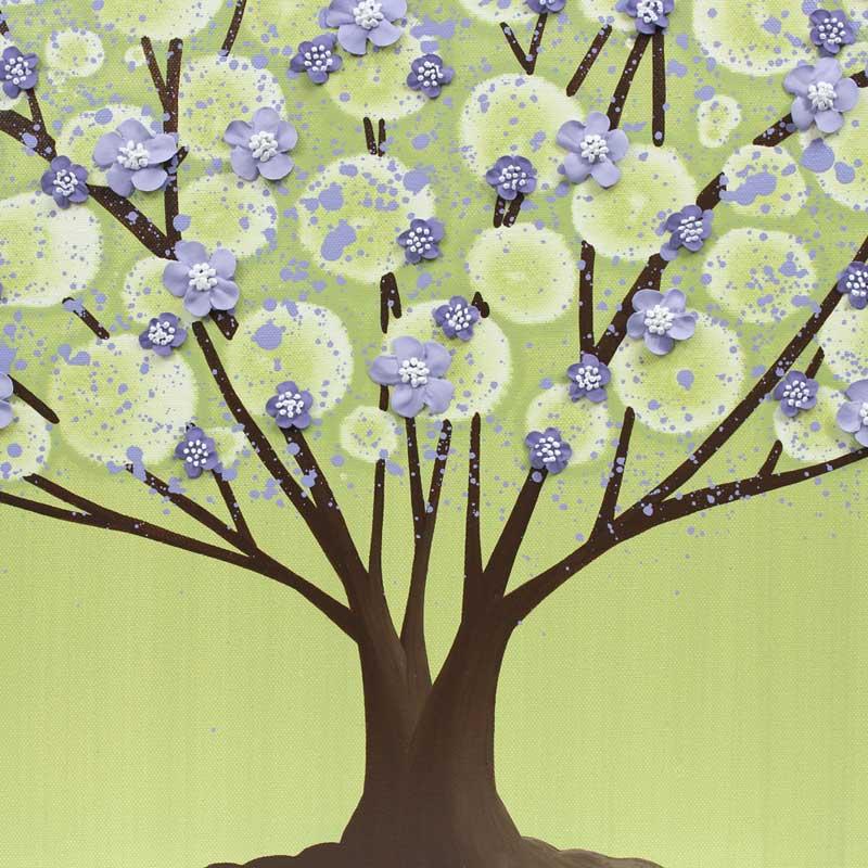 Center view of nursery art green purple tree