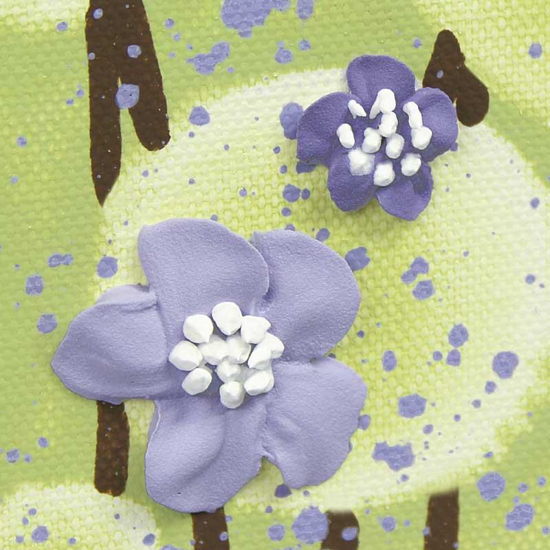 Close up of nursery art green purple tree