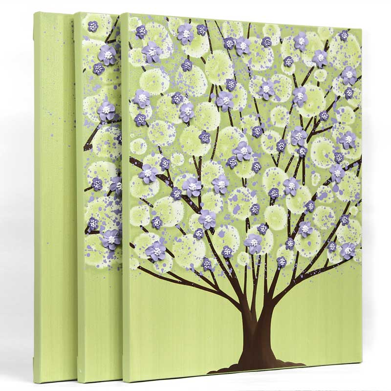 Nursery Wall Art Painting of Tree in Green and Purple - Large | Amborela