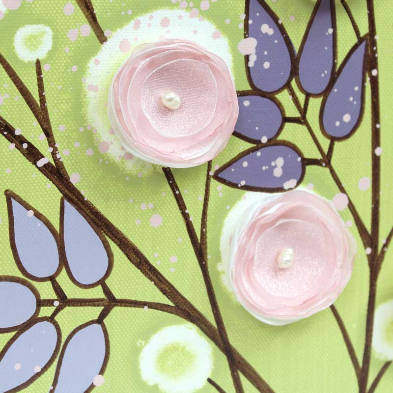 Details of nursery art green pink climbing flowers