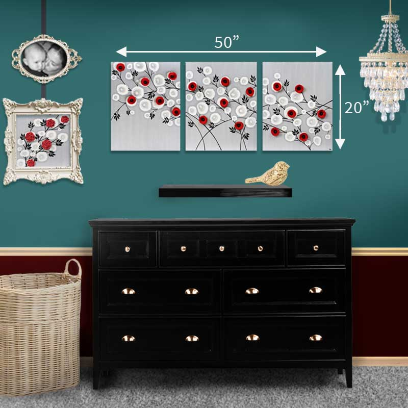 Size guide for large wall art gray and red climbing roses