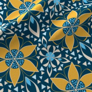 Fabric - Art Deco Floral Gold and Blue