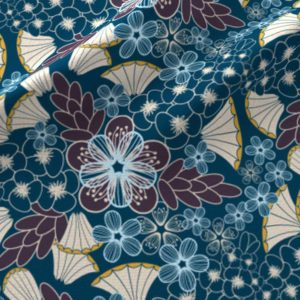 Art deco floral in plum and blue