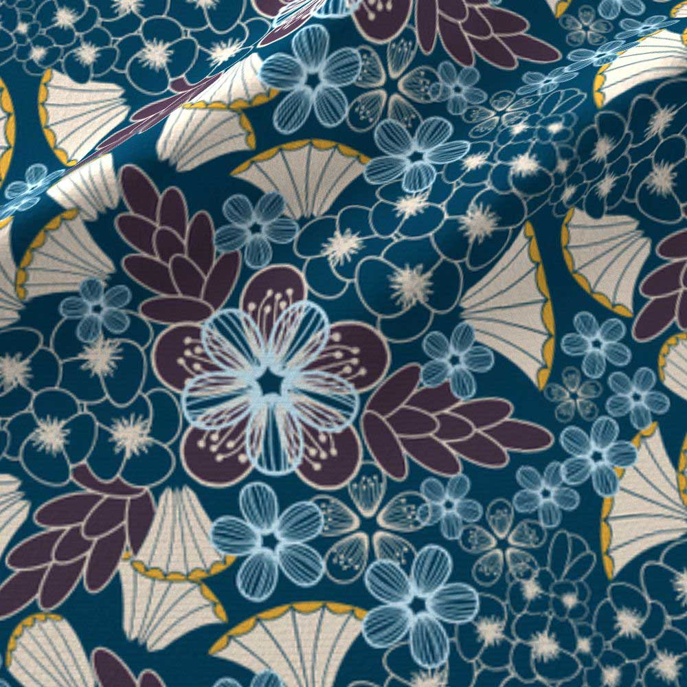 fabric amp wallpaper art deco floral in plum blue amborela