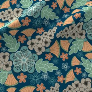 Art deco floral in blue, orange, and green