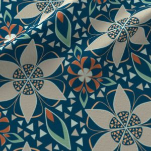 Large art deco star flowers in blue and orange