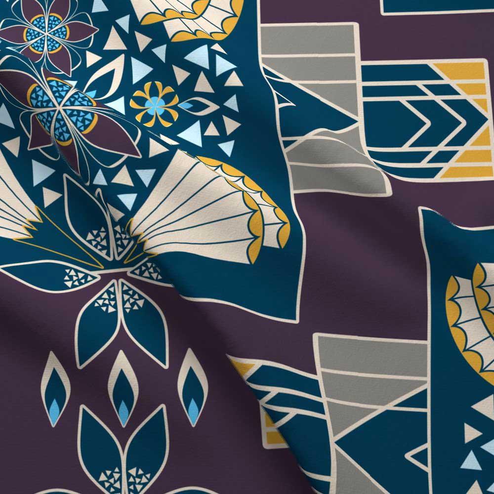 Art deco style large floral quilt blocks