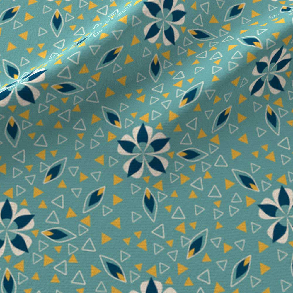 Print of art deco flowers and triangles in teal and yellow