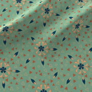 Small art deco flowers and triangles in green and orange