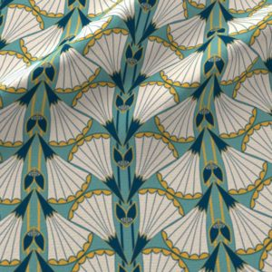 Print of art deco trumpet flower fans in teal and yellow