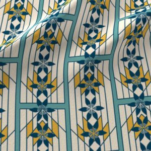 Print of art deco style windowpanes in indigo, teal, and yellow