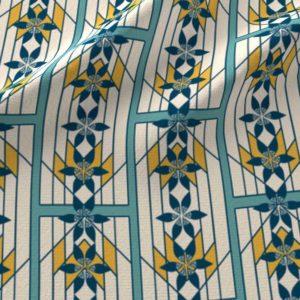 Fabric & Wallpaper: Art Deco Teal Windowpane