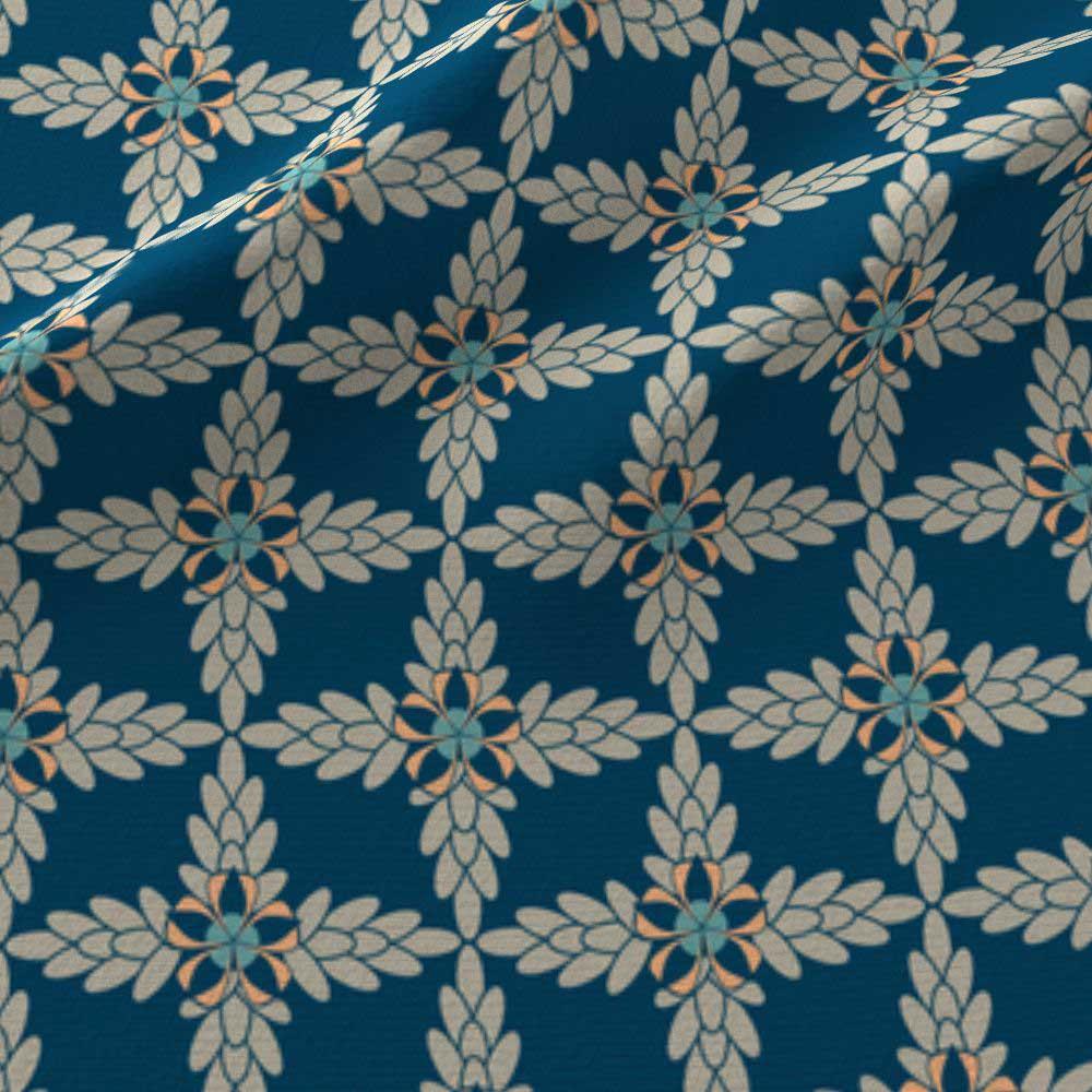 Blue and orange diamond floral print