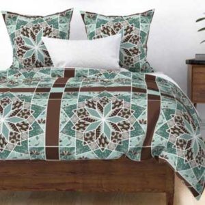 Fabric & Wallpaper: Star Quilt Squares in Green, Brown