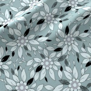 Blue and black flower and leaf print