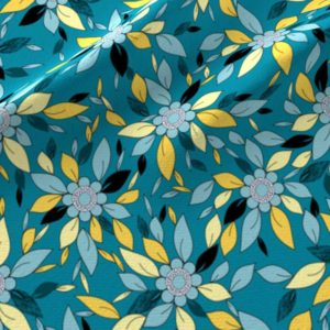 Blue and yellow flowers and leaves print