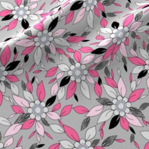 Flower and leaf print in pink and gray