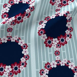 Hawaiian border print in teal, navy and pink floral rings