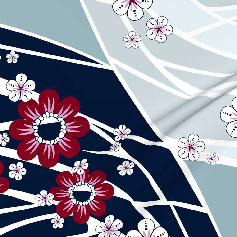 Fabric Wallpaper Hawaiian Floral Wave Baby Quilt Navy Amborela