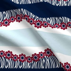 Hawaiian border print in navy and pink floral