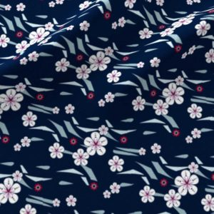 Hawaiian print in navy and pink floral