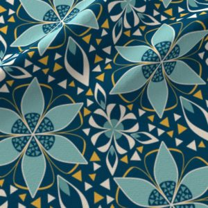 Large floral print with triangles in teal and blue
